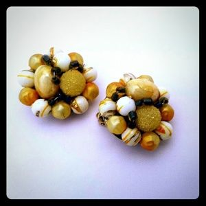 Vintage Butterscotch Cluster Clip-on Earrings